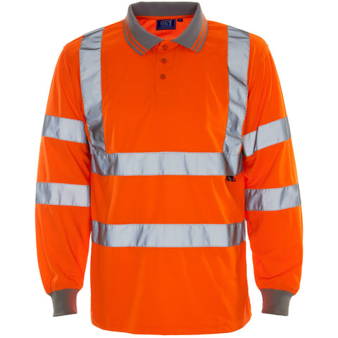 Supertouch Hi Vis Long Sleeved Polo Shirt- Orange - Worklayers