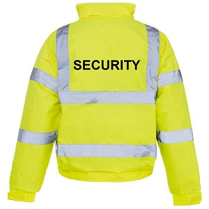 Hi Vis Bomber Jacket With Security Logo - Yellow
