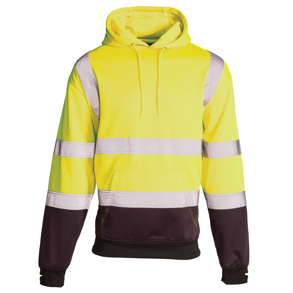 Hi Vis Sweatshirt Hooded Two Tone - Yellow
