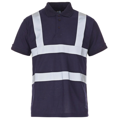 Supertouch Hi Vis Piqué Polo Shirt - Navy - Worklayers