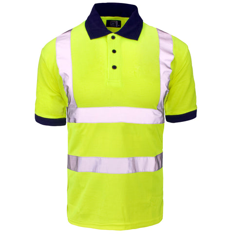 Supertouch Hi Vis Piqué Polo Shirt Navy Collar- Yellow - Worklayers