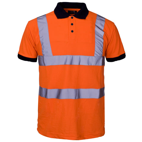 Supertouch Hi Vis Piqué Polo Shirt Navy Collar - Orange - Worklayers