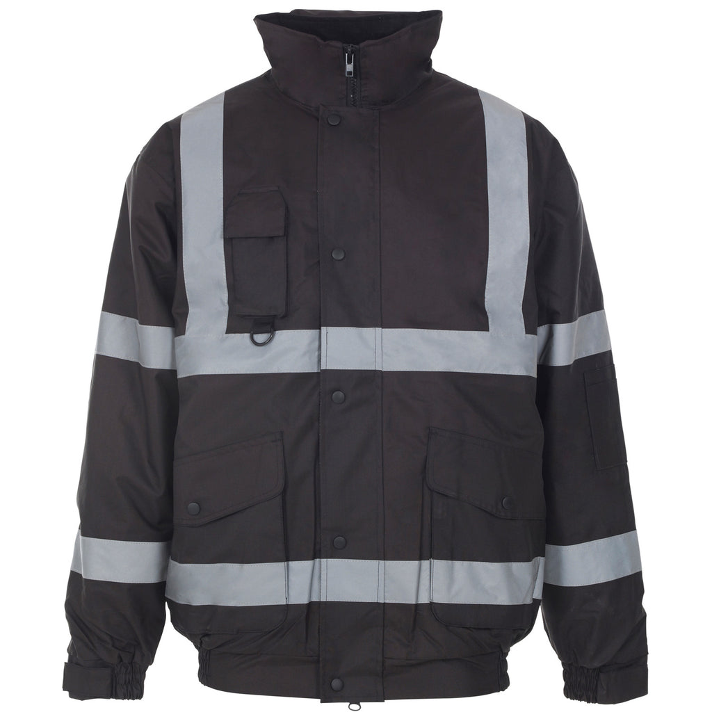 Supertouch Hi Vis Security Bomber Jacket - Black - Worklayers