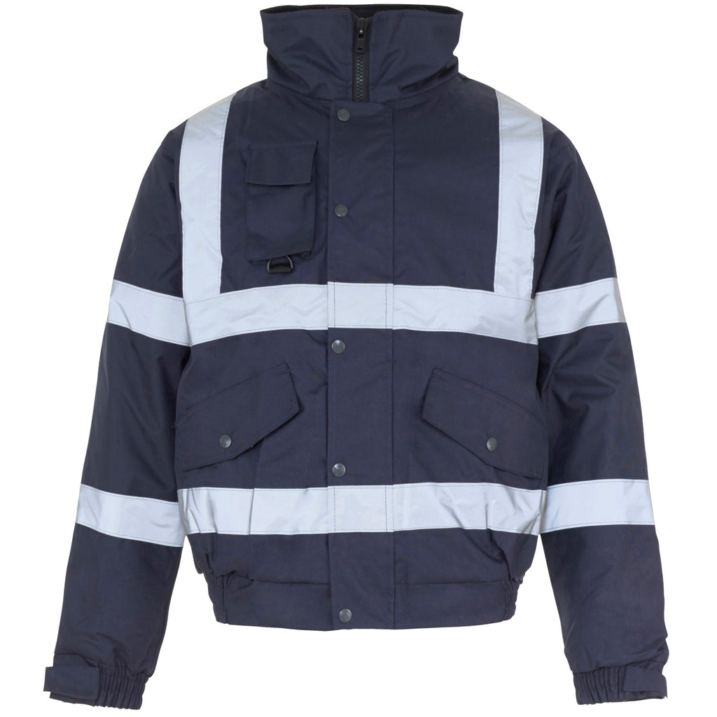 Supertouch Hi Vis Security Bomber Jacket - Navy - Worklayers