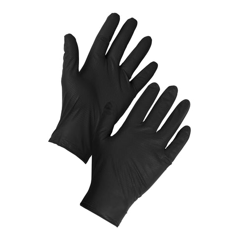 Tough Nitrile Gloves Diamond Grip Black - Worklayers