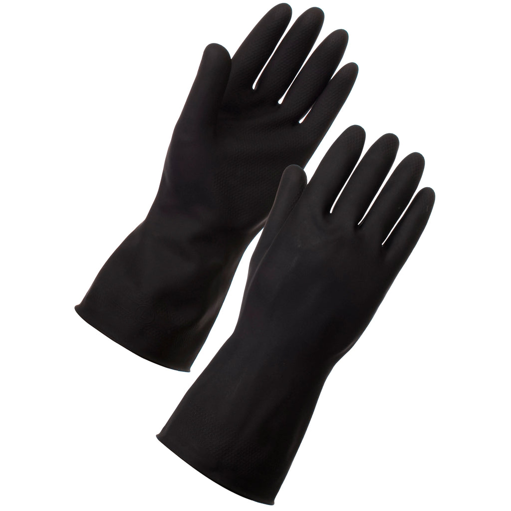 Black Rubber Gloves - Worklayers.co.uk