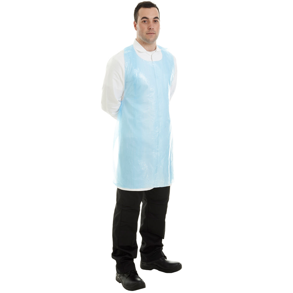 Blue disposable apron for food industry from Worklayers