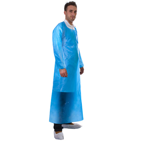 Blue disposable apron with long sleeves from Worklayers