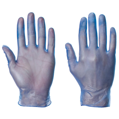 Blue Powdered Vinyl Gloves