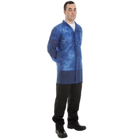 Blue Disposable Visitor Coats with velcro - 50pcs - Worklayers