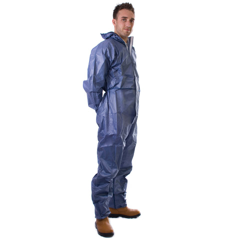 Blue disposable Cat 3 Type 5/6 Coverall Plus