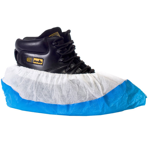 Disposable CPE PP Overshoes Blue White - Worklayers
