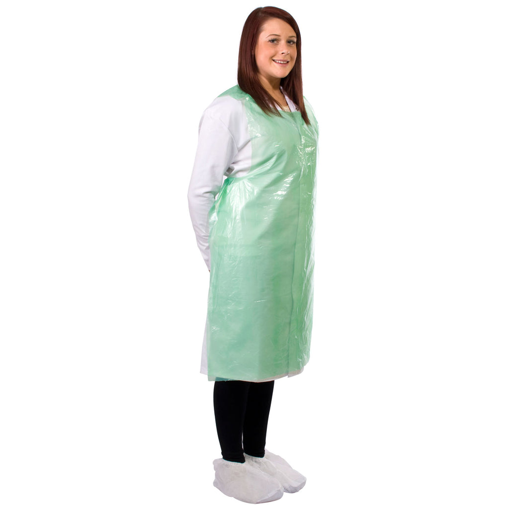Green disposable aprons from Worklayers