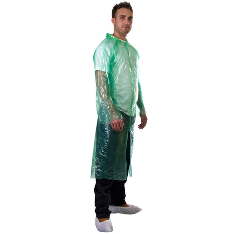Green Disposable Coats - PE Visitor Coats Worklayers
