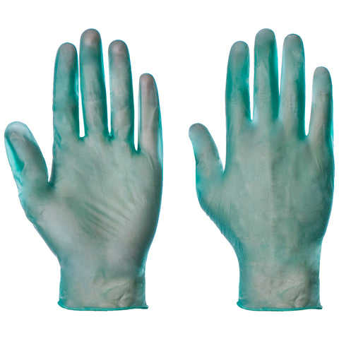 Green Powdered Vinyl Gloves