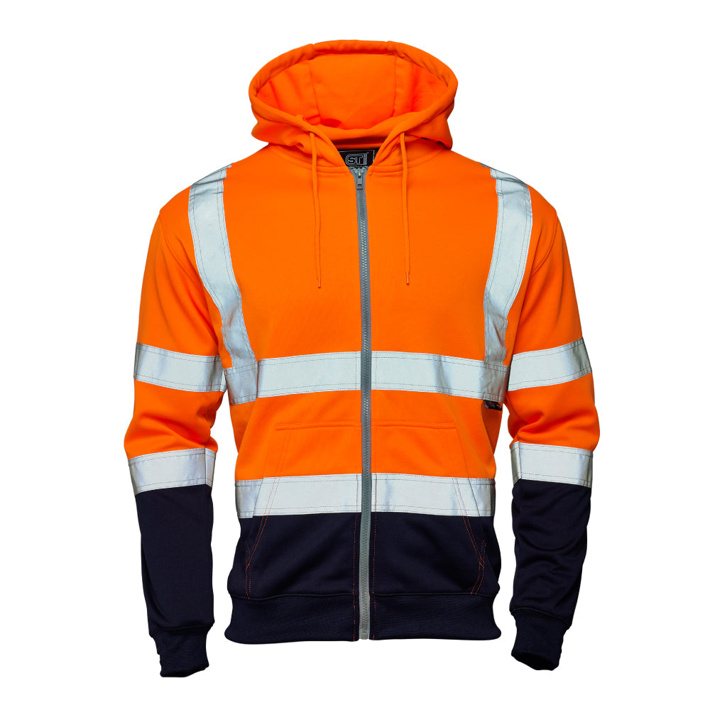 Hi Vis Fleece Hoodie Orange (2 Tone) - Worklayers.co.uk