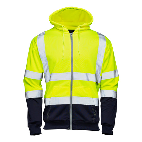 Hi Vis Fleece Hoodie Yellow (2 Tone) - Worklayers.co.uk
