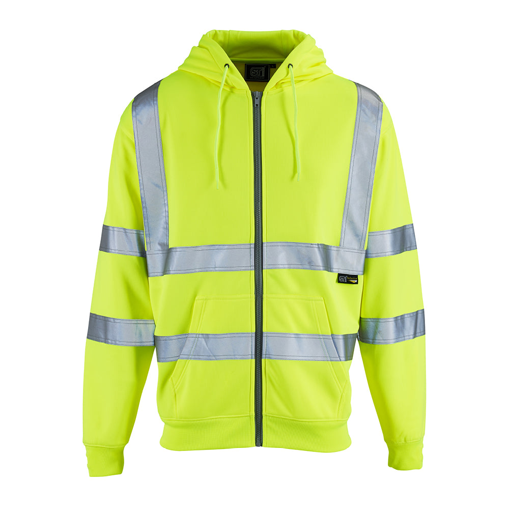 Hi Vis Fleece Hoodie Yellow - Worklayers.co.uk