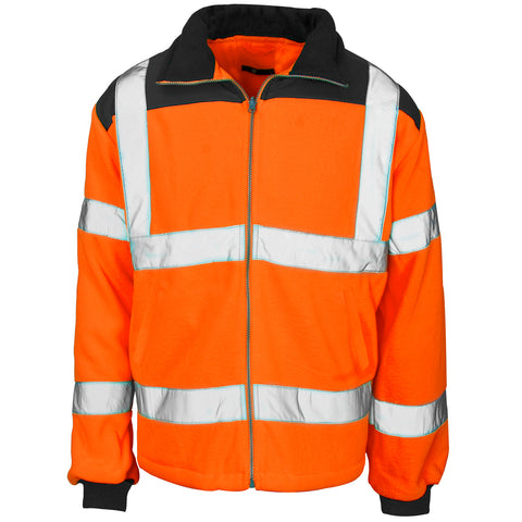 Hi Vis Fleece Orange (Rain Patch) - Worklayers.co.uk