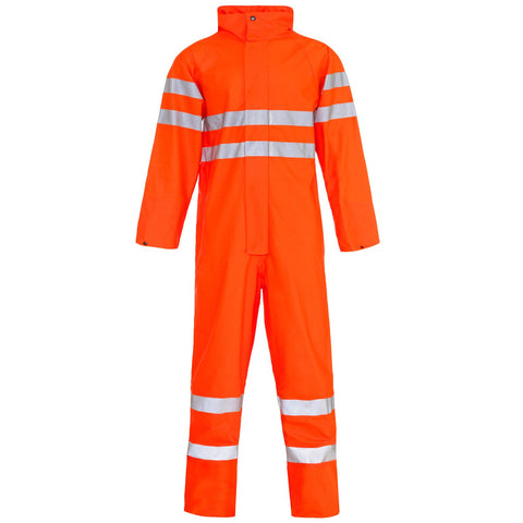 Hi Vis Waterproof Overalls Orange - Worklayers.co.uk