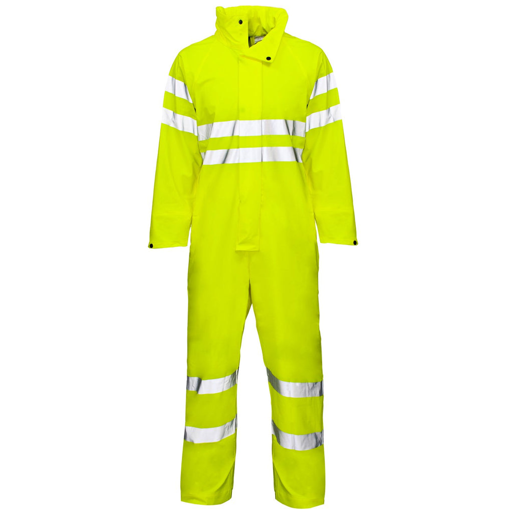Hi Vis Waterproof Overalls Yellow - Worklayers.co.uk