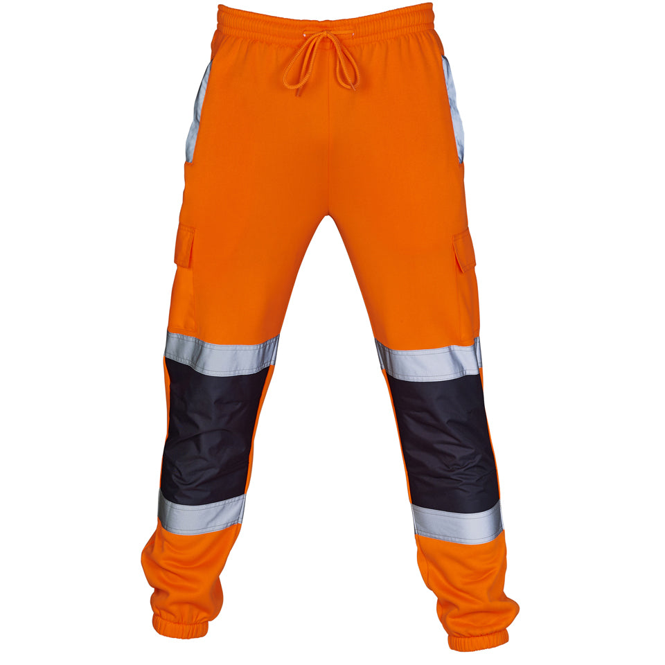 Hi Vis Jogging Bottoms Two Tone - Orange