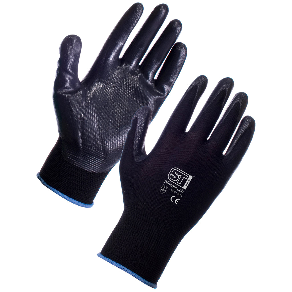 Nitrotouch Gripper Gloves (Black) - Worklayers.co.uk