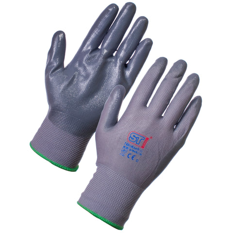 Nitrotouch Gripper Gloves (Grey) - Worklayers.co.uk
