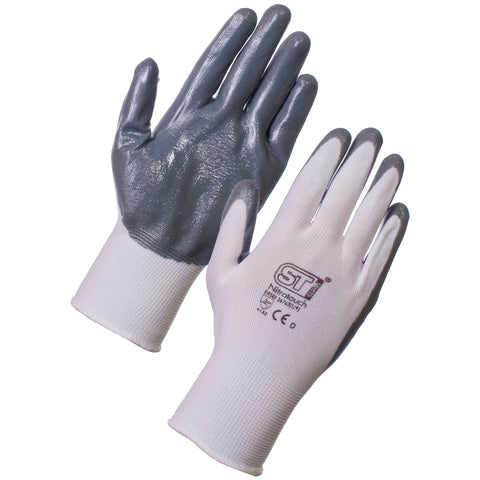 Nitrotouch Gripper Gloves (White-Grey) - Worklayers.co.uk