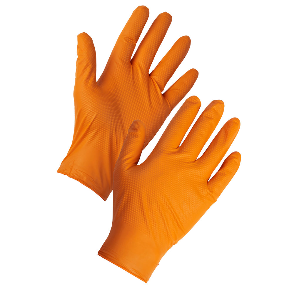 Orange Tough Nitrile Gloves Diamond Grip - Worklayers
