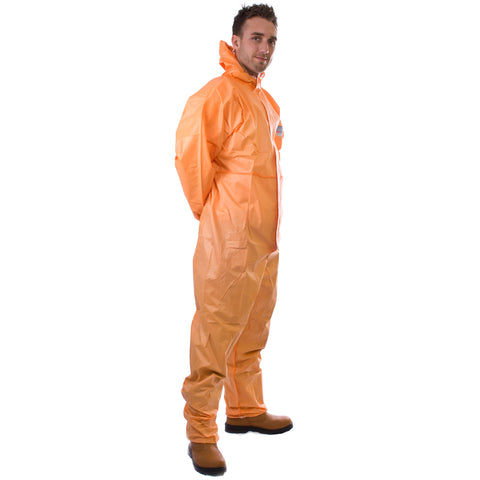 Orange disposable Cat 3 Type 5/6 Coverall Plus - Worklayers