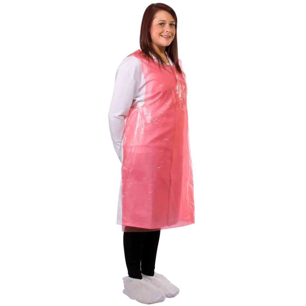 Red disposable aprons from Worklayers