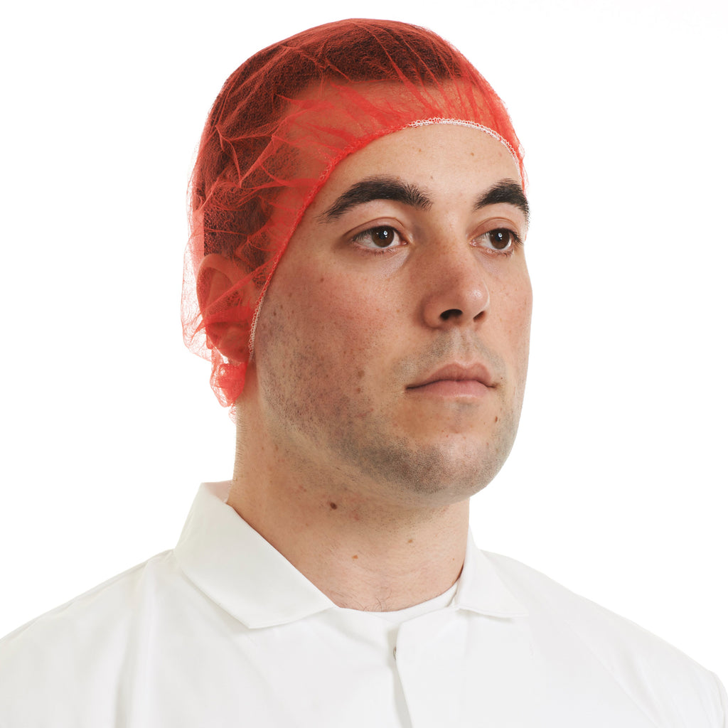 Red Disposable Bouffant Cap - Worklayers