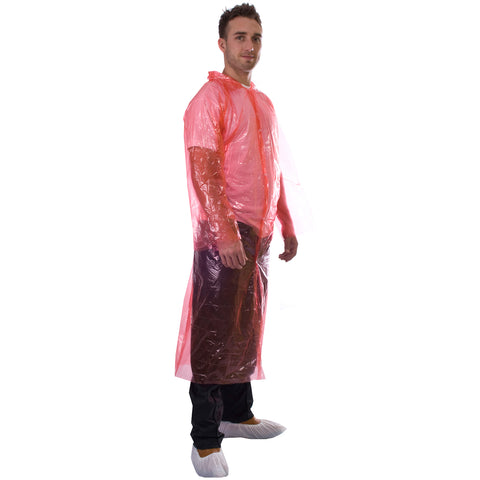 Red Disposable Coats - PE Visitor Coats - Worklayers