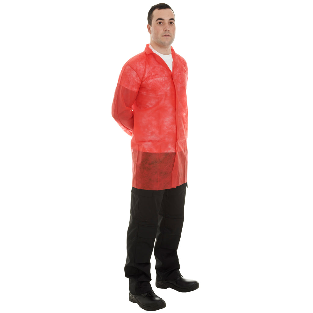 Red Disposable Visitor Coats with velcro - 50pcs Worklayers