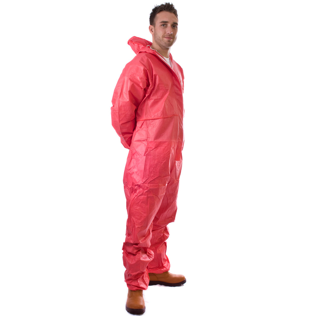 Red disposable Cat 3 Type 5/6 Coverall Plus - Worklayers