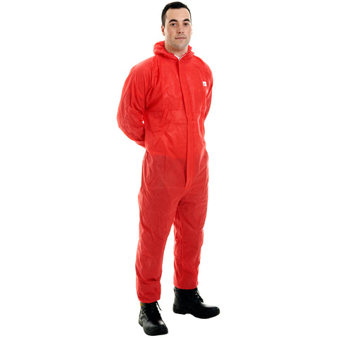 Red disposable Cat 3 Type 5/6 SMS Coverall - Worklayers