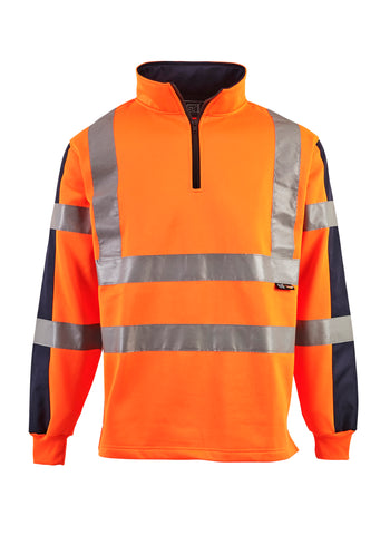 Hi Vis Sweatshirt Two Tone Quarter Zipped - Orange
