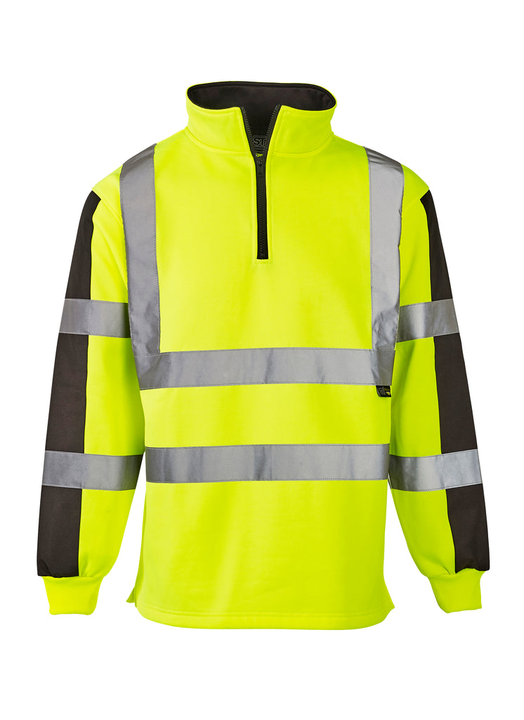 Hi Vis Sweatshirt Two Tone Quarter Zipped - Yellow