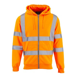 Hi Vis Hoodie Zipped - Orange