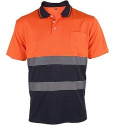 UCI Hi Vis Polo Shirt Contrast - Orange - Worklayers