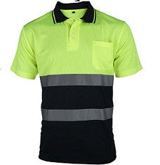 UCI Hi Vis Polo Shirt Contrast - Yellow - Worklayers