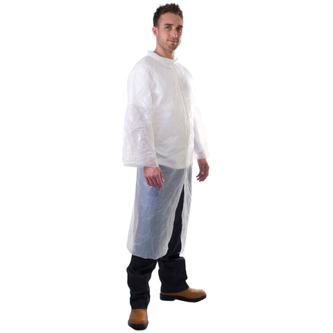 White Disposable Coats - PE Visitor Coats - Worklayers