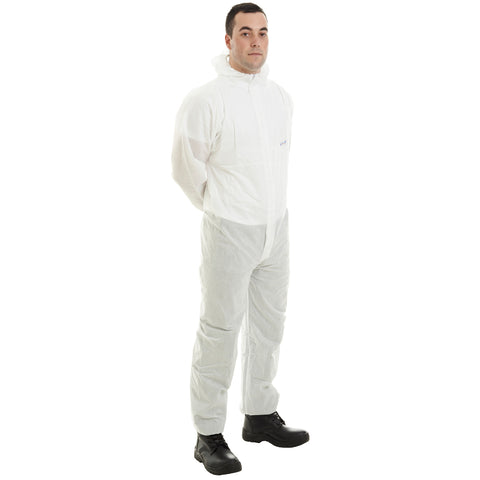 White disposable Cat 3 Type 56 SMS Coverall