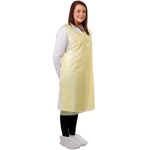 Yellow disposable aprons from Worklayers