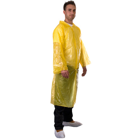 Yellow Disposable Coats - PE Visitor Coats Worklayers