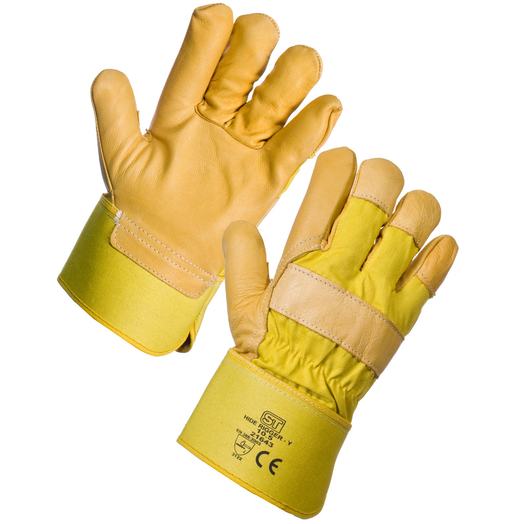 Yellow Hide Rigger Gloves - Worklayers.co.uk