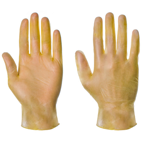 Yellow Powdered Vinyl Gloves