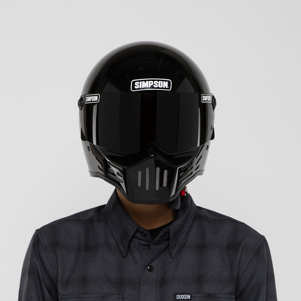 SIMPSON M30 GLOSS BLACK HELMET ON MODEL