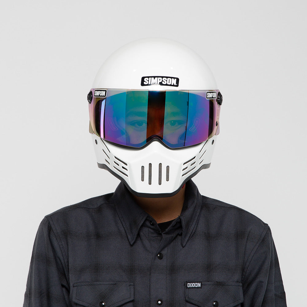 SIMPSON M30 WHITE HELMET ON MODEL